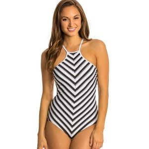 Black & white striped Seafolly bathing suit.